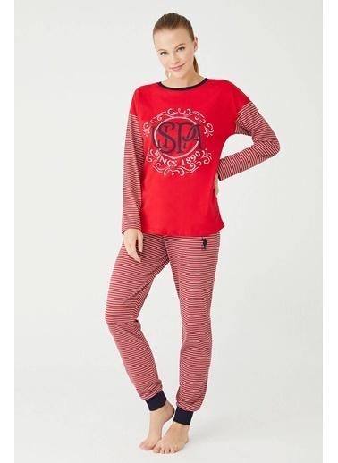 U.S. Polo Assn. Kadın Yuvarlak Yaka Pijama Takım Kırmızı